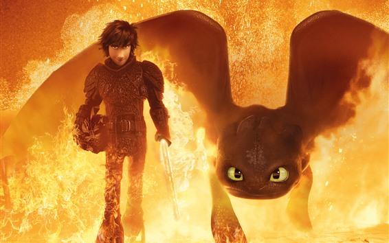 Wallpaper How to Train Your Dragon 3, fire, sword