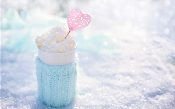 Обои Мороженое, любовь сердца, чашка, зима