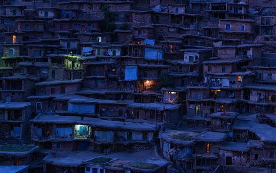 Wallpaper Iran, slums, village, night