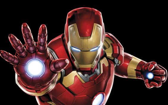 Wallpaper Iron Man, hands, superhero, black background