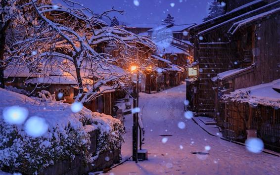 Wallpaper Japan, Kyoto, houses, snow, trees, night, lights