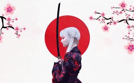 Wallpaper Japanese girl, kimono, sakura, sword, art picture