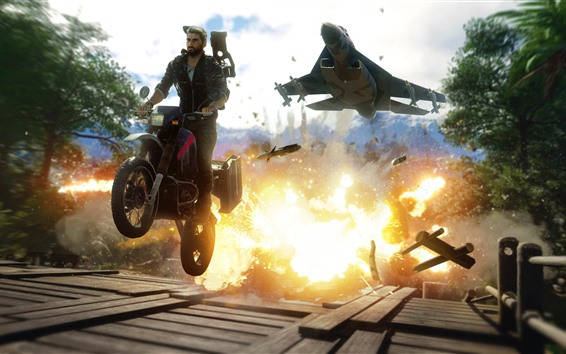Wallpaper Just Cause 4, motorcycle, fighter