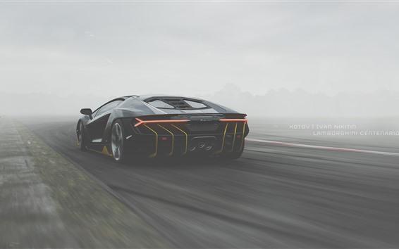 Wallpaper Lamborghini, black supercar back view, fog