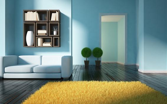 Обои Гостиная, диван, растения, книга, деревянный пол, дизайн