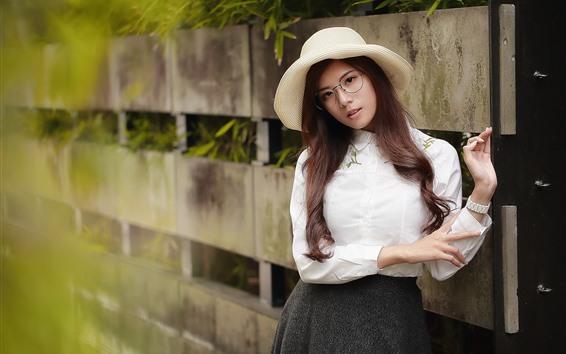 Hintergrundbilder Langes Haar Asiatin, Hut, Brille