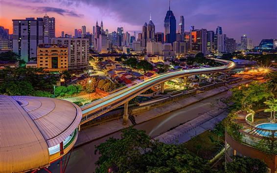 Обои Малайзия, Куала-Лумпур, город, небоскребы, огни, ночь