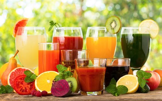 Papéis de Parede Muitos tipos de suco de frutas, copos de vidro