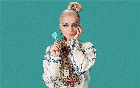 Wallpaper Morden girl, lollipop, blue background