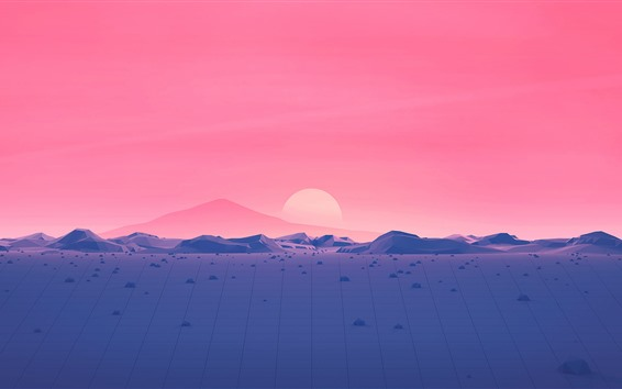 Wallpaper Mountains, sunset, red sky, vector picture
