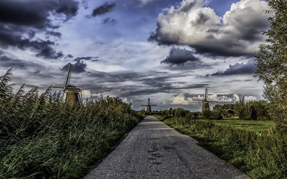 Wallpaper Nederland, road, trees, windmills, clouds, village