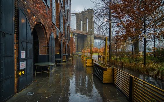 Wallpaper New York, cafe, bridge, wet, rain