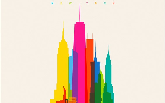 Wallpaper New York, city, skyscrapers, colorful, vector picture