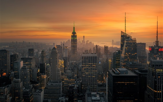 Wallpaper New York, skyscrapers, lights, dusk, city, USA