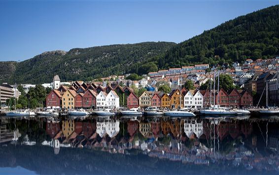 Wallpaper Norway, Bryggen, yachts, houses, sea