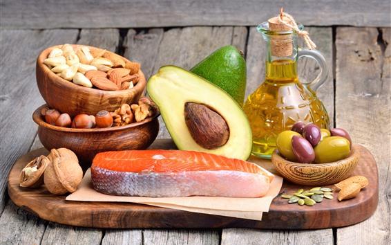 Wallpaper Nuts, avocado, olives, fish, oil