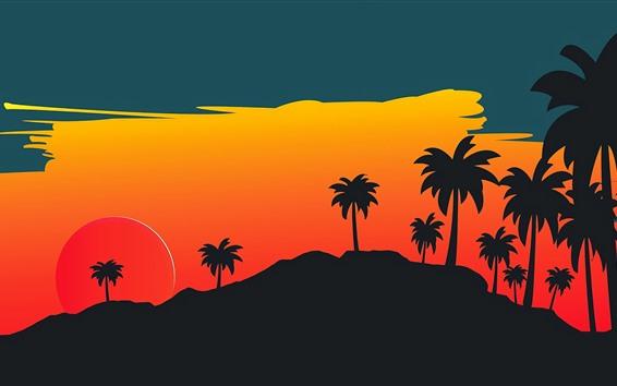 Обои Пальмы, закат, векторное изображение