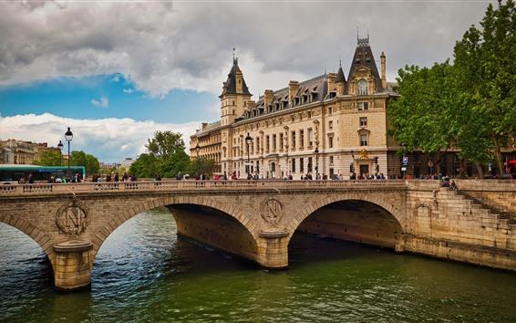 Wallpaper Paris, France, Seine River, bridge, buildings, city, people