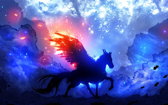 Wallpaper Pegasus, wings, starry, clouds, night, silhouette, art picture
