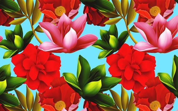 壁紙 ピンクの赤と緑の花、テクスチャ背景