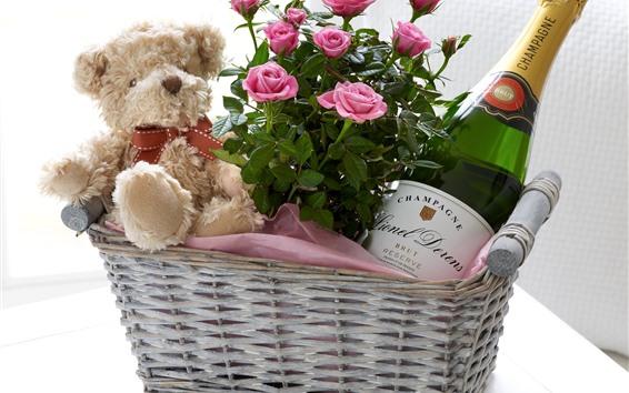 Papéis de Parede Rosas cor de rosa, ursinho de pelúcia, cesta, champanhe