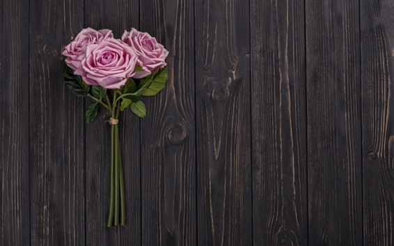 Wallpaper Pink roses, wood board background
