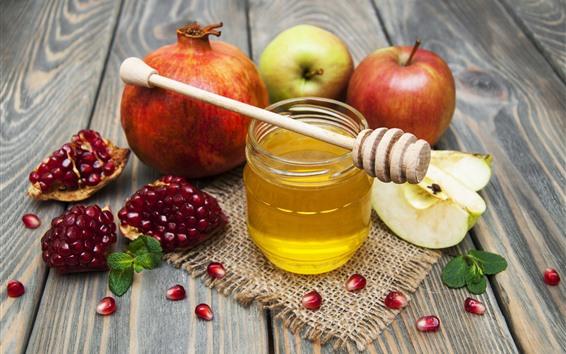 배경 화면 석류, 사과, 꿀