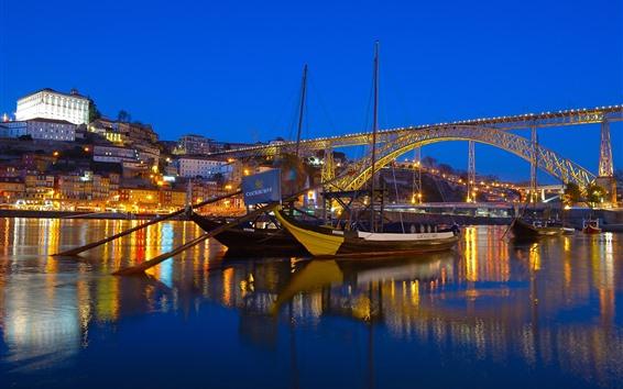 Papéis de Parede Portugal, rio, ponte, barcos, luzes, noite, cidade