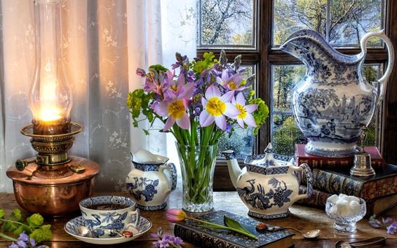 Papéis de Parede Flores roxas, vaso, chaleira, xícara, chá, janela, lâmpada