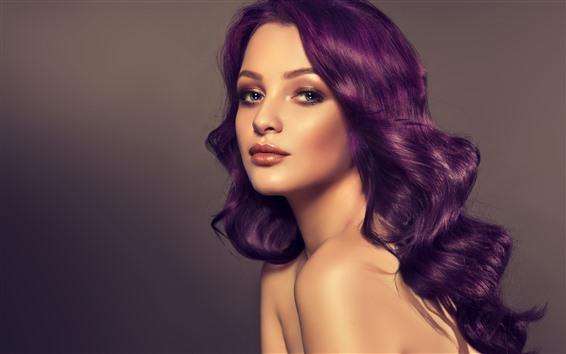 Обои Фиолетовые волосы девушка, прическа, лицо, мода