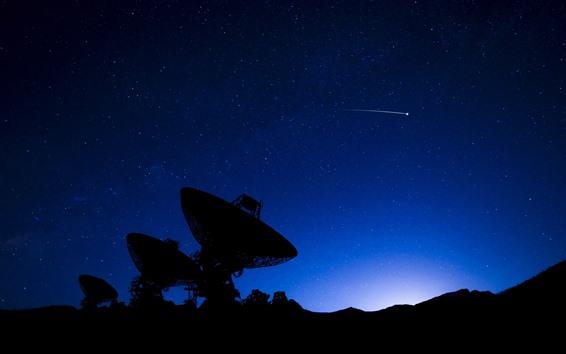 Wallpaper Radio telescope, silhouette, stars, sky, night