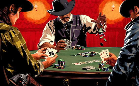 Wallpaper Red Dead Redemption 2, poker cards