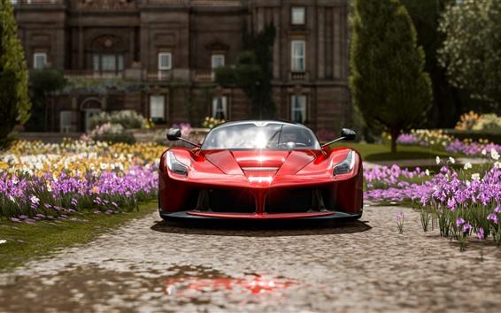 Обои Красный Ferrari вид спереди суперкар, Forza Horizon 4