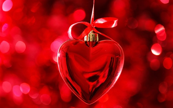 Fond d'écran Coeur d'amour rouge, décoration, romantique