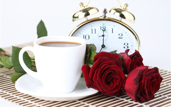 Wallpaper Red roses, coffee, pocket watch
