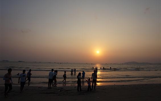 Papéis de Parede Baía de Shuangyue, pôr do sol, mar, Huizhou, China
