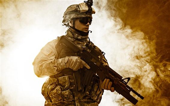 배경 화면 병사, 헬멧, 무기