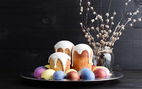 壁紙 いくつかのケーキとカラフルな卵、ハッピーイースター