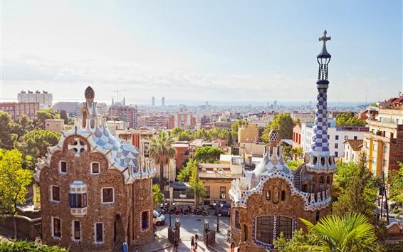 Papéis de Parede Espanha, barcelona, cidade, raios sol