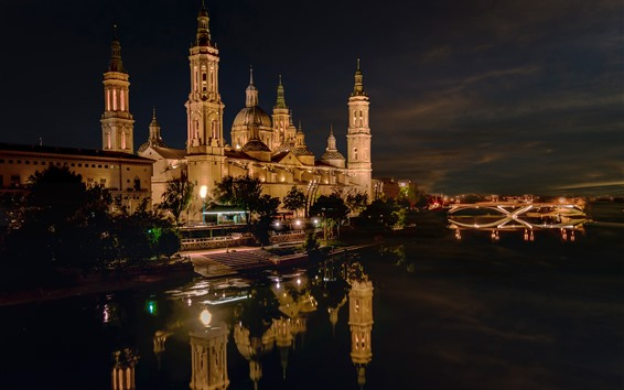 Wallpaper Spain, Palace, city, houses, river, night, lights