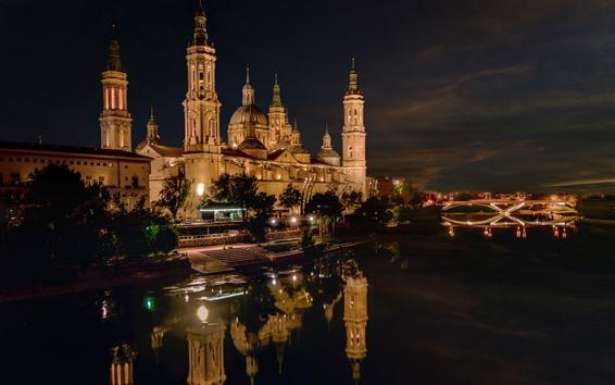 Papéis de Parede Espanha, palácio, cidade, casas, rio, noturna, luzes