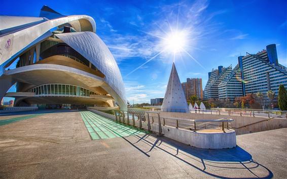 Papéis de Parede Espanha, valencia, cidade, edifícios, sol, raios