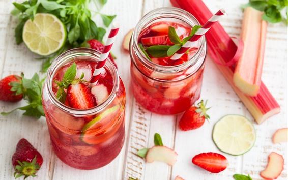 배경 화면 딸기 음료, 박하