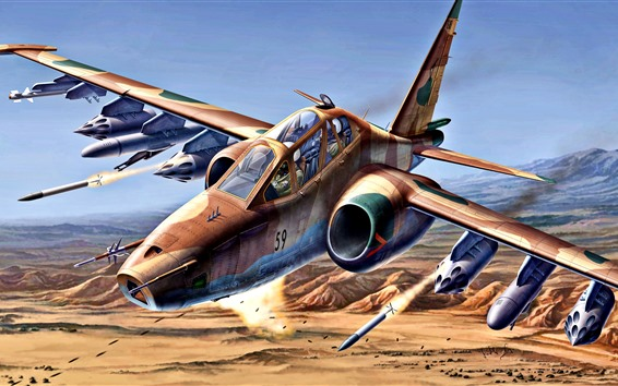 Wallpaper Su-25 military aircraft, art painting