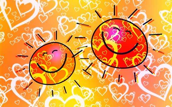 Wallpaper Sun, smiley face, love hearts, art picture