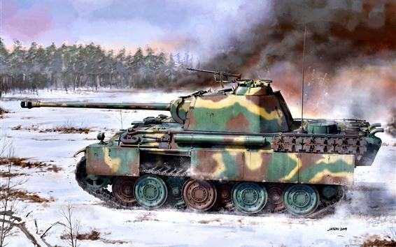 Papéis de Parede Tanque, neve, árvores, arma, imagens de arte