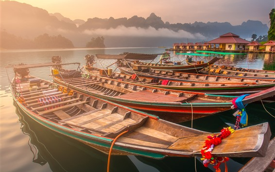 Wallpaper Thailand, lake, trees, boats, mountains, fog, morning