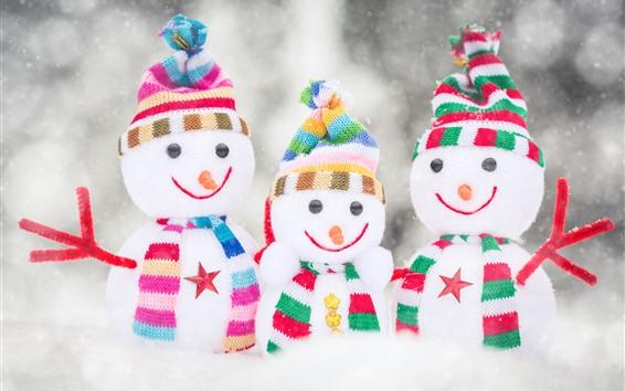 배경 화면 세 눈사람, 눈, 장난감