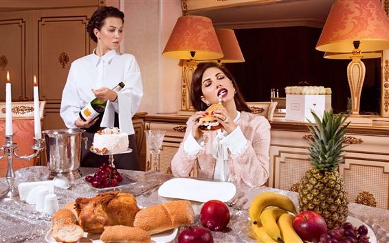 Wallpaper Two girls, lunch, bread, wine, apples, banana
