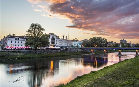 Wallpaper Ukraine, river, bridge, houses, clouds, dusk